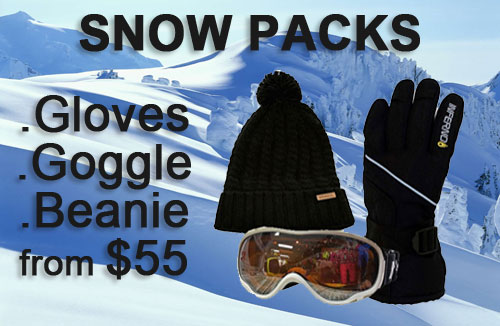 Snow Gloves Goggles Beanie packs