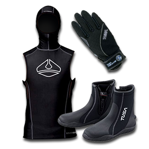 Boots,Gloves, Hoods,Vests