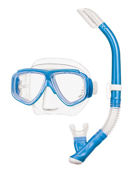 Tusa Splendive Mask & Snorkel Set - Clear Blue