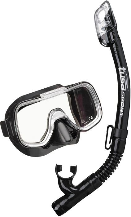 Tusa Mini Kleio & Dry Top Snorkel - Black