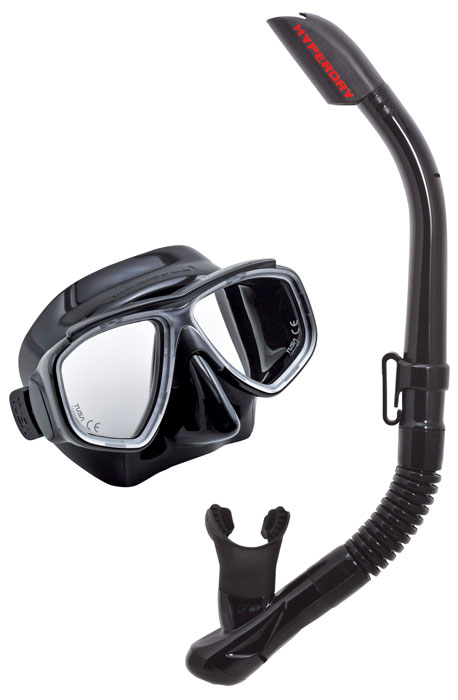 Tusa Splendive Mask & Snorkel Set - Black/Black