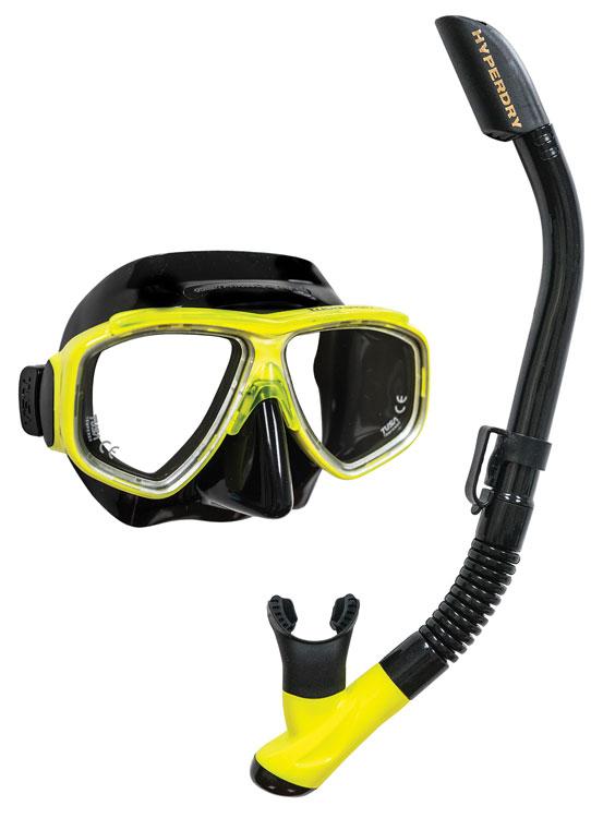 Tusa Splendive Mask & Snorkel Set - Black/Yellow