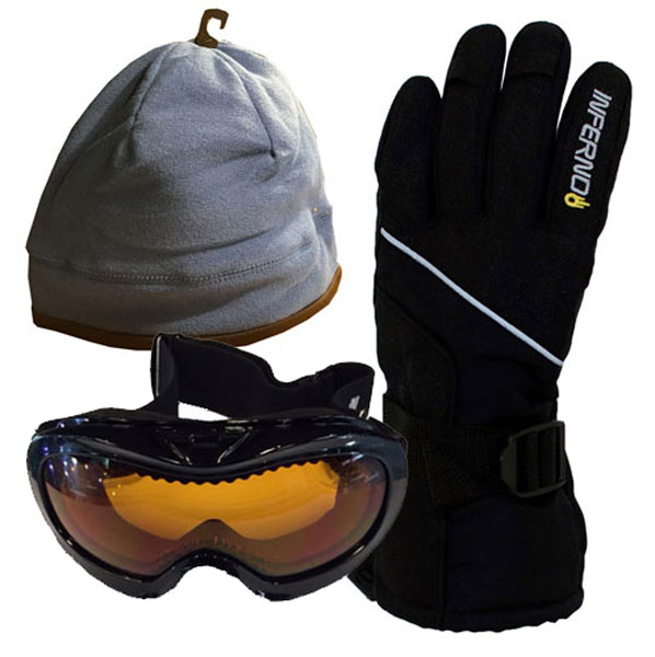Kids Accessory Pack Gloves,Goggles,Fleece Beanie