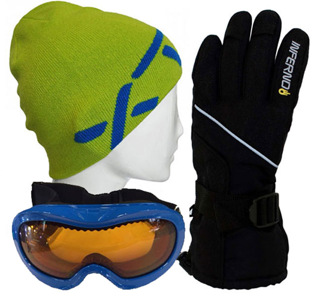 Kids Accessory Pack Gloves,Goggles,XTM Beanie