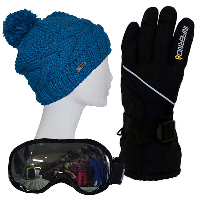 Ladies Accessory Pack Gloves,Goggles,Beanie