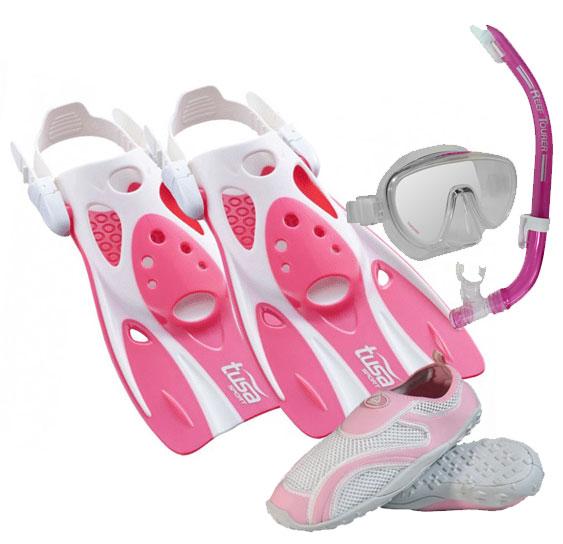 Tusa Sport Fin Set Pink with Aqua Shoes