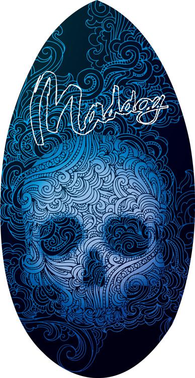 """Maddog Wedge Skull 41"""" Skimboard"""