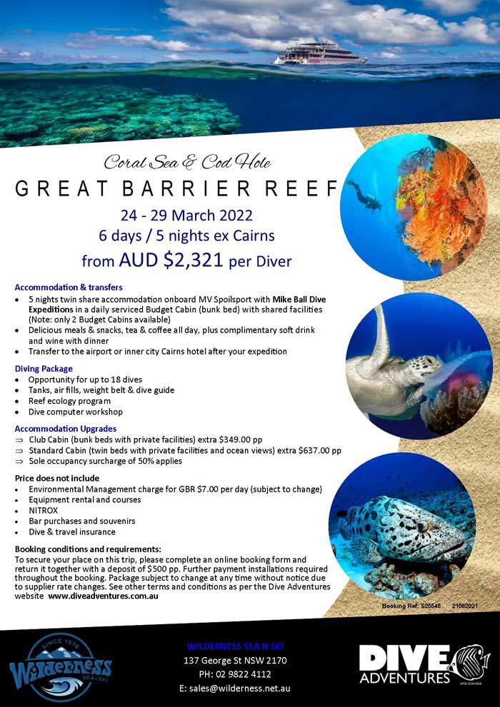 Great Barrier Reef Dive Trip 24-29 March 2022