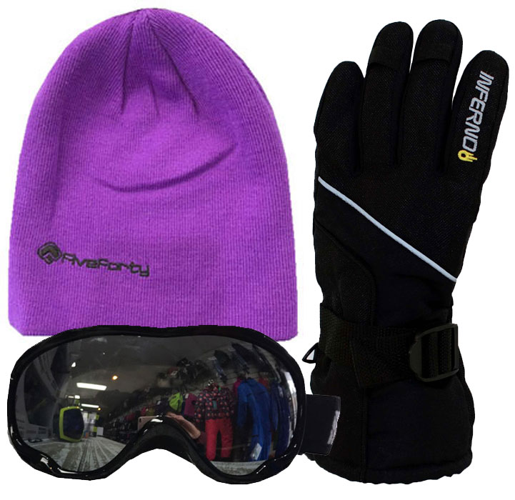Adults Accessory Pack Gloves,Goggles,540 Beanie