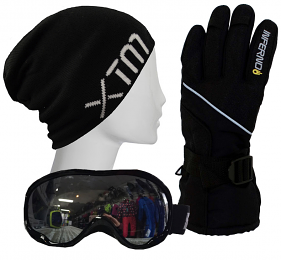 Adults Accessory Pack Gloves,Goggles,Beanie Black