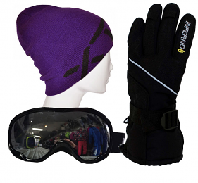 Adults Accessory Pack Gloves,Goggles,Beanie Purple