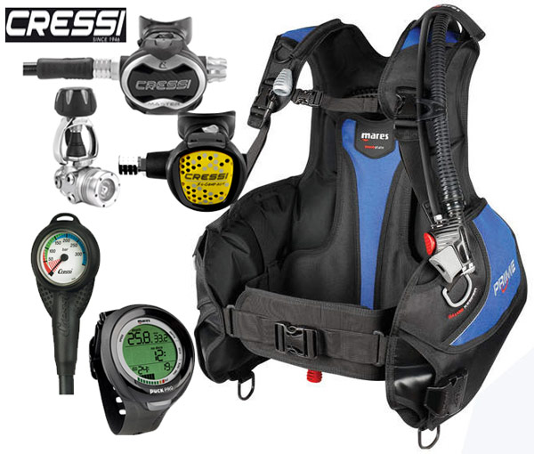Mares Prime BCD Cressi T10 Regulator Package