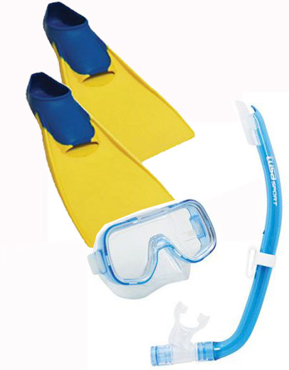 Tusa Mini Kleio Hyperdry & Rubber Fins Kids set Blue