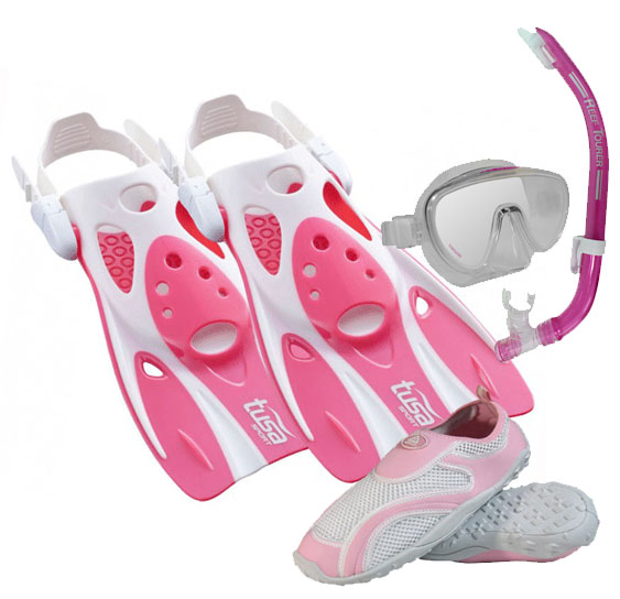 Tusa Sport Fin Set Pink with Aqua Shoes