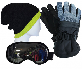 Mens Accessory Pack Gloves,Goggles,Beanie