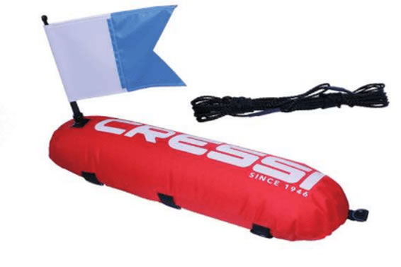 Cressi Inflatable Float, Flag & Line