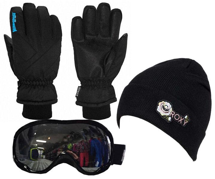 Womens Gloves, Goggles & Beanie Black