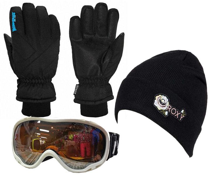 Womens Gloves, Goggles & Beanie White