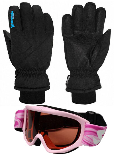 Kids Gloves & Scott Goggles Pink