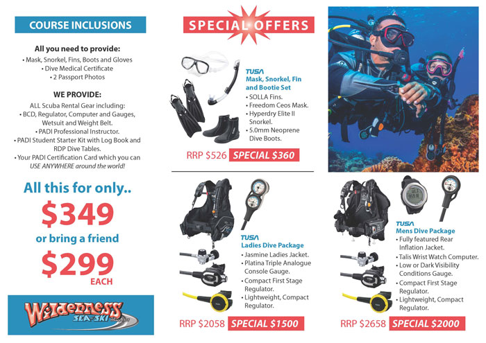 Learn to scuba dive course inclusions